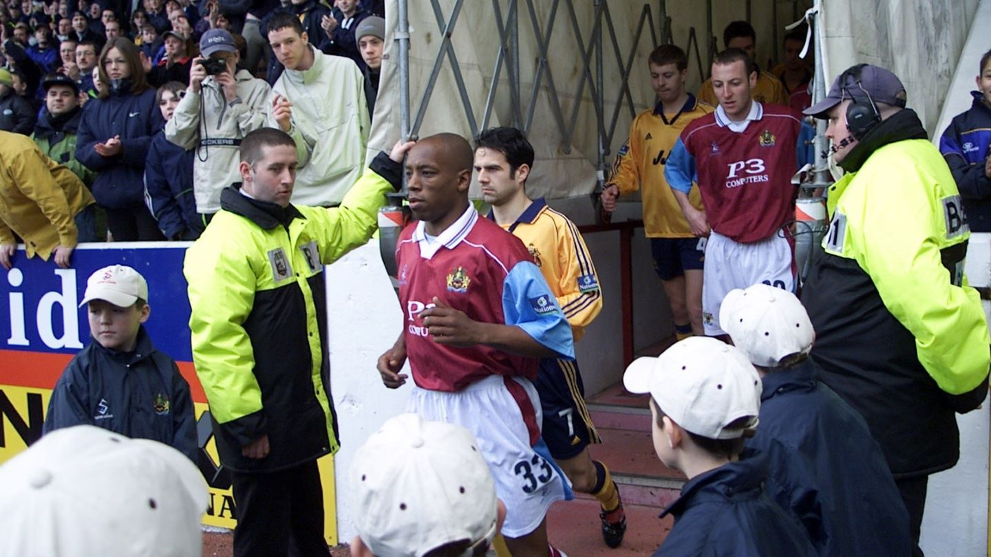 Ian Wright runs out for his Burnley debut